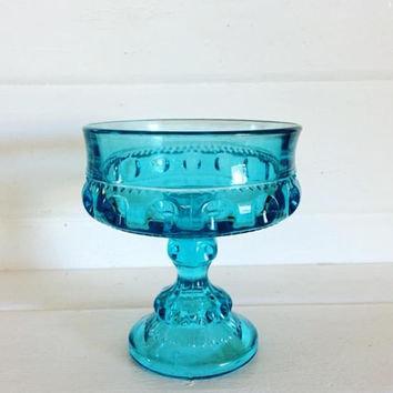 Indiana Glass Blue, Vintage Indiana Blue Glass, Vintage Blue Glass, Blue Glass Bowl, Aqua Candy Bowl, Blue Pedestal Dish, Blue Glass Goblet