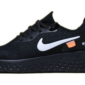 OFF White X Nike Epic React Flyknit Black White shoe