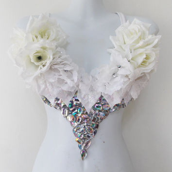 White Enchanted, White Wonderland Rave Bra Applique,Irredescent Rhinestone Cluster