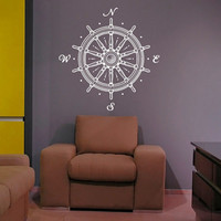 Wall Decal Nautical Compass Rose Wall Decor Navigate Ship Ocean Sea- Compass Wall Decal For Living Room Bedroom Office Nursery C042