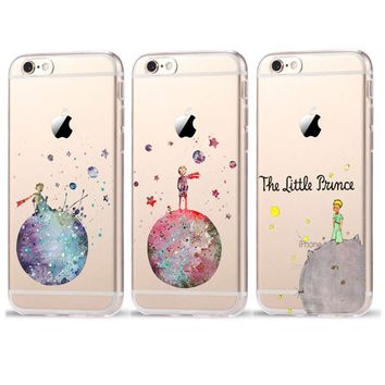 Cartoon The Little Prince The earth space Transparent Plastic Cover Case For iPhone 8 X 7 6 6S Plus 5 5S SE Case Coque Fundas