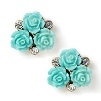 Carved Roses and Crystals Stud Earrings  | Icing