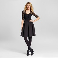 Lace Fit and Flare Dress Black : Target