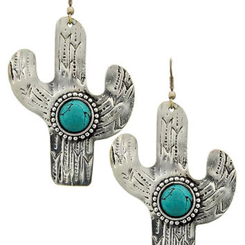 Silver Tone Cactus Earrings