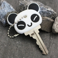 Panda Key Cap, Silicone Key Caps, Rubber Key Topper, Key Organizer, Kawaii Keycap, Animal Key Cover, Car Keychain, Keychain for Keys