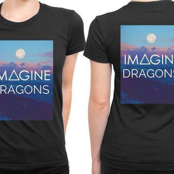 CREYH9S Imagine Dragons Title With Sunset Background 2 Sided Womens T Shirt