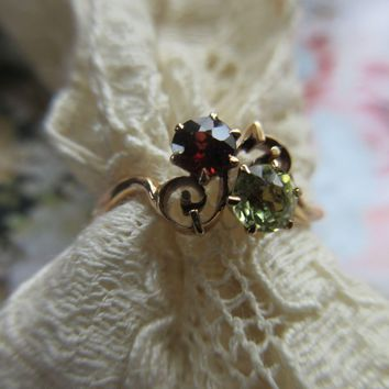 Antique 10K Garnet Ring