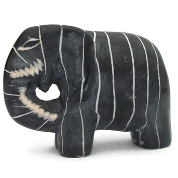 Vintage Black Hand Carved Stone Elephant Figurine - Etched White Stripes Small Striped Animal Miniature Collectible Knick Knack