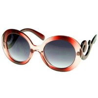 Designer Oversized High Fashion Sunglasses w/ Baroque Swirl Arms (Red-Fade)