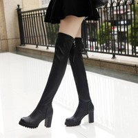 Round Toe Back Zipper High Chunky Heel Over-knee Long Boots