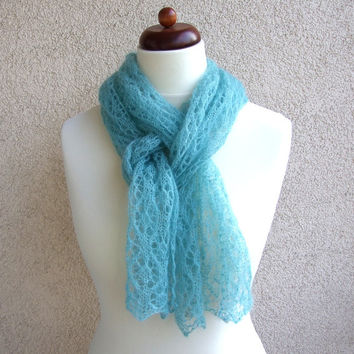 mint lace scarf, skinny scarf, whimsical knit scarf