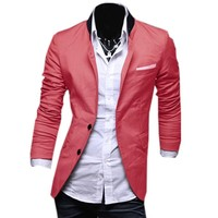 Partiss Mens Pure Color Blazers Large,Red