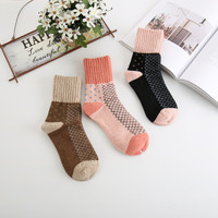 inDostyle fashion cute dot calentadores warm long wool  spun yarn socks women thermal thicken socks winter A0052