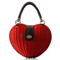 Sweet Women's Tote Bag With Heart Shape and Weaving Design