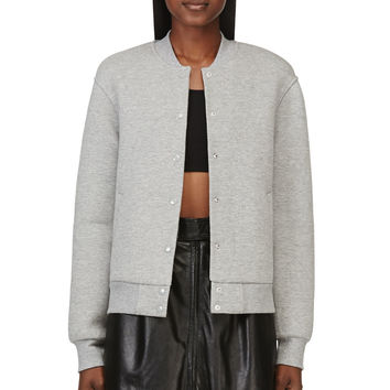T By Alexander Wang Heather Grey Neoprene Varsity Jacket