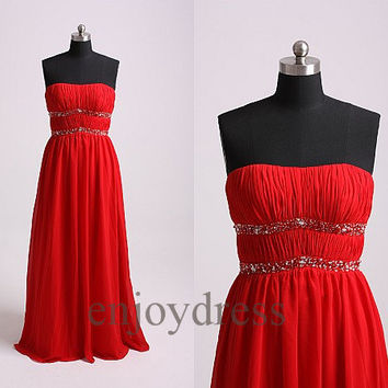 Custom Long Red Beaded Prom Dresses Elegant Evening Dress Wedding Party Dress Pleated Dress Party Bridemaid Dresses 2014 Maternity Dress
