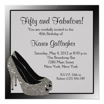Black Silver High Heels Womans Birthday Customized Card