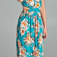 Floral Printed Maxi Dress - Turquoise