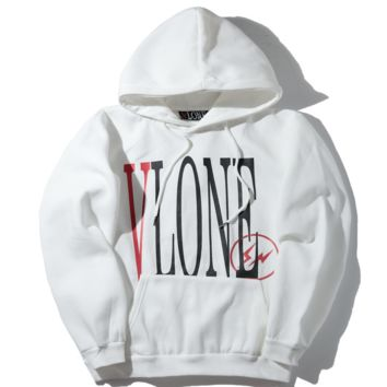 Vlone autumn and winter new classic logo men and women couple sweater jacket White