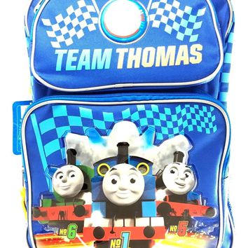 """Team Thomas the Train Engine No1 16"""" Canvas Blue School Rolling Backpack"""