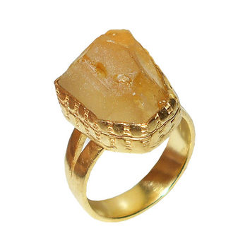 Rough Citrine Ring, Gemstone Ring, November Birthstone, Raw Stone Ring, Stackable Ring, Yellow Gold Vermeil, Brass Ring, Gift For Sister
