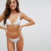 ASOS Mix & Match Pippa Girly Scallop Lace Triangle Bra Set in White at asos.com