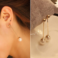 Women's Fashion Jewelry Stylish Charming Pearl Gold Plated Long Drop Earrings (Color: Gold) = 1946610436