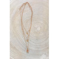 Key To My Heart Gold Layered Necklace