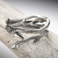 Supermarket - elvish twine, dark sterling silver twig ring from RedSofa