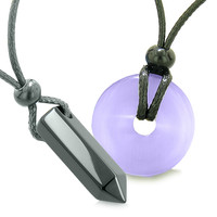Yin Yang His Hers Love Couple Crystal Point Lucky Coin Donut Black Agate Purple Cats Eye Amulet Necklaces