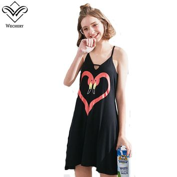 Wechery Sleeveless Spaghetti Nightgowns Women Sleepwear Cute Heart Sweet Mini Dress Sexy Soft For Girls Comfortable Sleepwear