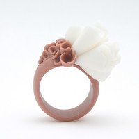 Napa Valley Porcelain Coral Brown And White Ring | Luulla