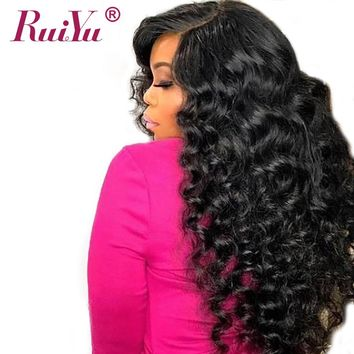 RUIYU Hair Lace Front Human Hair Wigs For Women Natural Black Deep Wave Brazilian Hair Non Remy Lace Front Wigs With Baby Hair