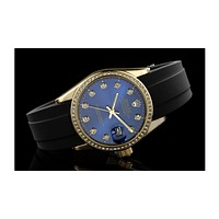 ROLEX men and women fashion quartz watch F-SBHY-WSL Gold Case + Blue Dial