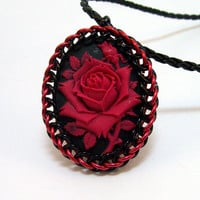Gothic, necklace, chainmaille pendant, cameo jewelry, red rose, vampire, goth, elegant.