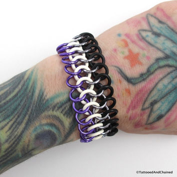 Ace pride stretchy bracelet, chainmaille Euro 4 in 1
