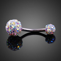 Elegant Shiny Zircon Dual Ball Belly Button Ring (With Thanksgiving&Christmas Gift Box)= 1958044740