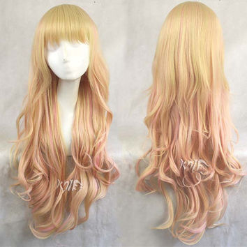 75cm harajuku synthetic curly hair pink mixed yellow colors gradient anime cosplay costume party wigs for women cosplay wigs anime Halloween