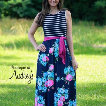 Black Stripe and Navy Floral Sleeveless Maxi Dress with Fuchsia Sash Belt - Boutique At Audrey's