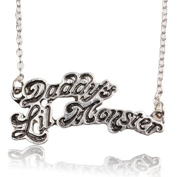 Movie Suicide Squads Jewelry Necklace Daddy's Lil Monster Letter Logo Pendant for men and women jewelry Accessories