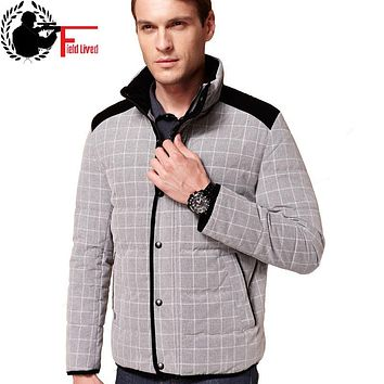 Male Winter Coat Plaid 2017 New Casual Brand White Duck Down Jacket Men Autumn Winter Warm Patchwork Corduroy Stand Collar