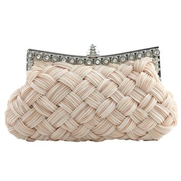 Elegant Basketweave Evening Clutch