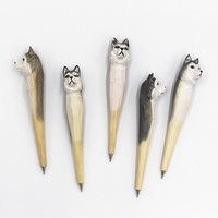 Coloffice Creative Wood Carving Pets Animal Garden Silly Husky Dog Ballpoint pen Gift Office Stationery School Writing Supplies
