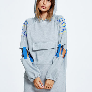 Gray Letter Print Cut Out Sleeve Pocket Front Longline Hoodie