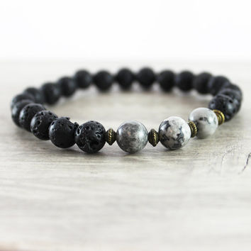 Black Beaded Bracelet, Men's Bracelet, Unisex Jewelry, Lava Beads, Handmade Jewelry, Antique Brass Bracelet, Jasper Gemstone Bracelet