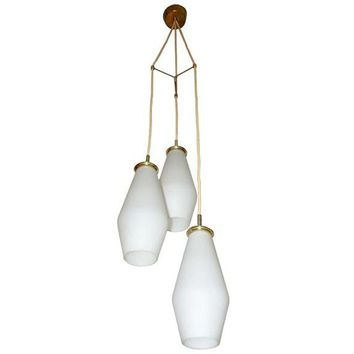 Pre-owned Italian Triple Milk Glass Pendant
