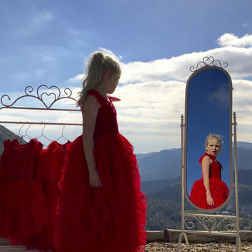 DOLLY by Le Petit Tom ® WHIMSICAL LONG DRESS red