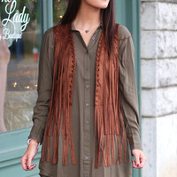 Easy Does It Fringe Suede Vest {Brown}