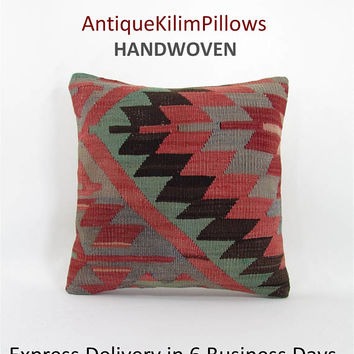 16x16 throw pillow decorative pillow kilim throw pillow cover boho throw pillow home decor AntiqueKilimPillows 000879