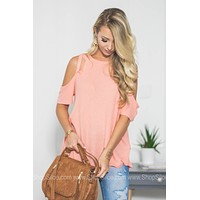 Thermal Strappy Cold Shoulder Top